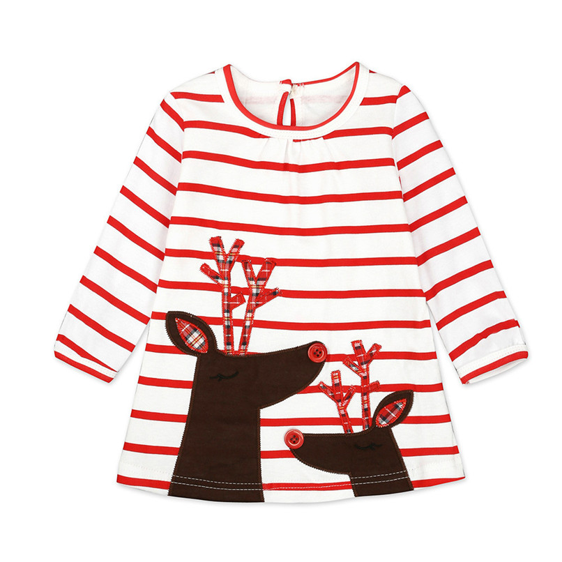 Christmas Clothes Girl Clothes Long Sleeve Girls Dress Toddler Baby Kids Girls Deer Printed Striped Party Princess Dress S12#F (4)