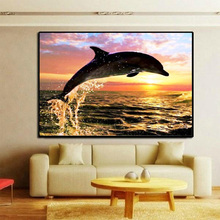 Full round drill diamond painting dolphin 5D DIY diamond painting cross stitch diamond embroidery diamond full embroidery AA304