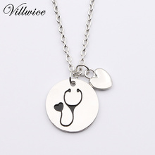 Nurse Heart Stethoscope Pendant Necklace Christmas Vet Graduation Gift Jewelry For Doctor Medical Student(China)