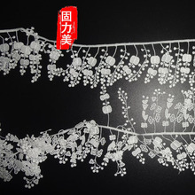 5 yard Small flower white tassel lace trim width 6cm(China)