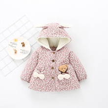 2017 New Arrival Rushed Girls Winter Coat Child Jacket Female Baby Cotton Warm Plus Velvet Thick 1-3 Years Old Cardigan Tide