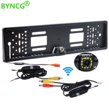 BYNCG Wireless Rear View Camera European Car License Plate Frame Auto Reverse Backup 12 LED Universal CCD Night Vision(China)