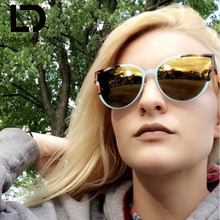DOLCE VISION 2017 Fashion Cat Eye Sunglasses Women UV400 Shades Female Mirror Coating Sun Glasses for Men Original Brand Eyewear(China)
