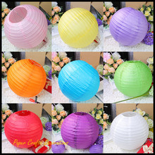 8inch 20cm Chinese Wedding Round Paper Lantern Lampion Rice Lamp Hanging Birthday Party Decorations(China)