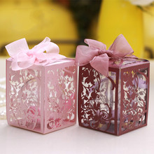 10 sets charming unique PP Plastic candy box ball wedding supplies creative wedding favor box hollow out candy box wholesale(China)