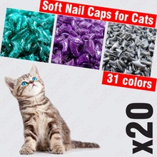 20pcs - Soft Nail Caps for Cats + 1x Adhesive Glue + 1x Applicator /* XS, S, M, L, cover, cat, paw, claw, wmc */