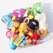 fast shipping DHL500pcs/50Set 12 cm Super Mario Yoshi Dinosaur Dragon Colorful Plush Toy Pendants with Keychains Stuffed Dolls
