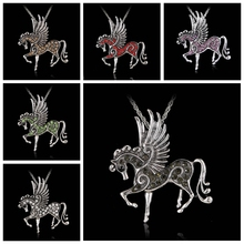 Rinhoo 2018 New mix color Crystal Pegasus Fly Horse Pendant with long Chain Necklace silver Jewelry(China)