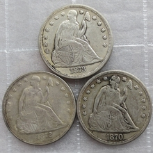 1870S 1872S 1873S 3pcs Seated Liberty Silver Dollars One Dollar Coins Retail