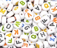 Doreen Box hot- 500Pcs Mixed Alphabet/Letter Flat Round Acrylic Spacer Beads 7mm(B10530)(China)