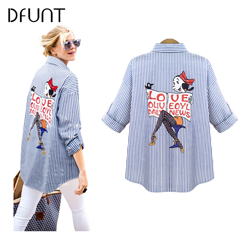 DFUNT Brand Summer Women Shirts One Pocket Turn-down Collar Full Sleeves Casual Tops Pictures Printed Womens Blouses Plus Size(China)