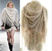 WJ70  New Arrival 2014 Autumn Winter Oversized Scarf Warm Mohair Knitted Long Tassels Scarves Shawl 6 colors Free Shipping