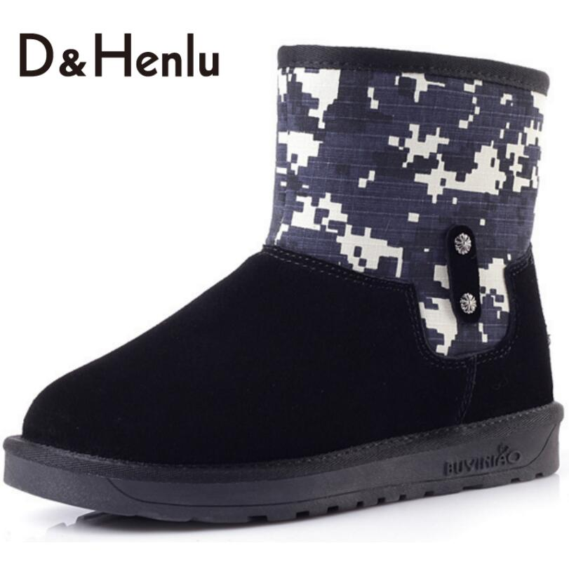 {D&amp;H} New Patchwork Graffiti Snow Boots Women Genuine Leather Plush Boots Short Boots Cotton-padded Winter Black Shoes Woman<br><br>Aliexpress