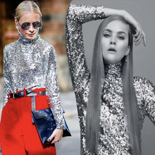 Chic Sequined Womens Tops Shirt 2018 High Neck Blouse blusa feminina Toppers Sequins Sparkly Custom Made Long Sleeves Party Top(China)