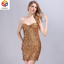 Shining Allover Sequins Strapless Off Shoulder Clubewear Lady Sexy Mini Bodycon Stage Party Dress With Paillette