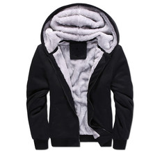 Winter Warm Men's Thick Fleece Lined Hoodie Men Solid Color Zipper Sweatshirt Casual Hoodies Tracksuit Coat Jacket Plus Size 5XL(China)
