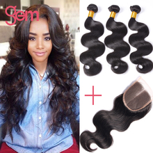 Brazilian Virgin Hair With Closure Body Wave 1pc Swiss Lace Closure With 3 Bundles Human Hair GEM Beauty Brazillian Hair Weave