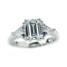 Genuine 585 White Gold 3Ct Emerald Cut Synthetic Diamonds Women Anniversary Ring Amazing unforgetable Jewelry Gift