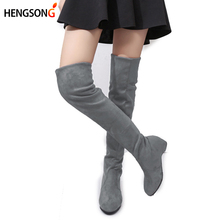 Women's High Boots Shoes Fashion Women Suede Leather Over The Knee Boots Autumn Winter Bota Feminina Thigh High Boots Ladies