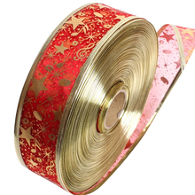1 PC 2 Meters Organza Bling Ribbon Wreath Christmas Present Weeding Wire Edged 4 Colors Decoration P40