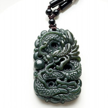 Hand-carved Chinese Hetian Green Jade Pendant Real HeTian Jade Carved Dragon Lucky Amulet pendants Necklace Fashion Jewelry