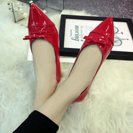 Free shipping spring and red bow pointed shoes solid Asakuchi flat shoes flat shoes<br><br>Aliexpress