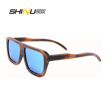 Ice Blue oversized sunglasses bamboo mens sunglasses uv400 CE polarzied sun glasses driving sports eyeglasses B061(China)