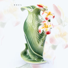 ceramic Canna indica L flowers vase home decor large floor vases for wedding decoration ceramic handicraft porcelain figurines(China)