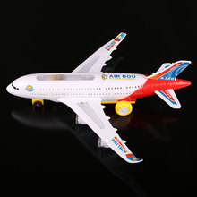 Electric Airplane Flashing Lights Sounds Kids Aeroplane Toy Airlines Model
