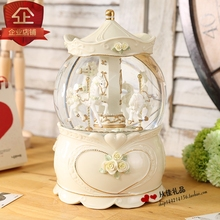 Amusement park carousel crystal ball music box music box ornaments valentine gift wedding gift(China)
