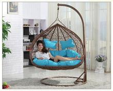 rattan double seats hanging casual swing chair