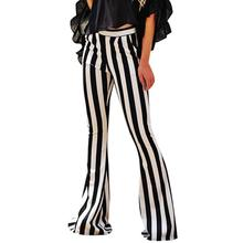 Woweile#5001 Women Bell Bottoms Flare Trousers High Waist Stretch Vertical Stripe Long Pants(China)