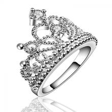 1 Pc Unique Women Girl Rings Silver Plated Crystal Fashion Crown Wedding Band Ring Jewelry Nice Gift For Women