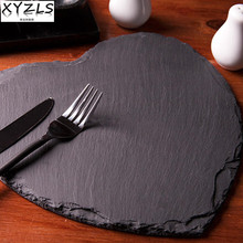 XYZLS Popular Heart Shape Natural Slate Solid Plate Decorative Natural Slate Tray Baking Tools Tableware Dish Barbecue Tray
