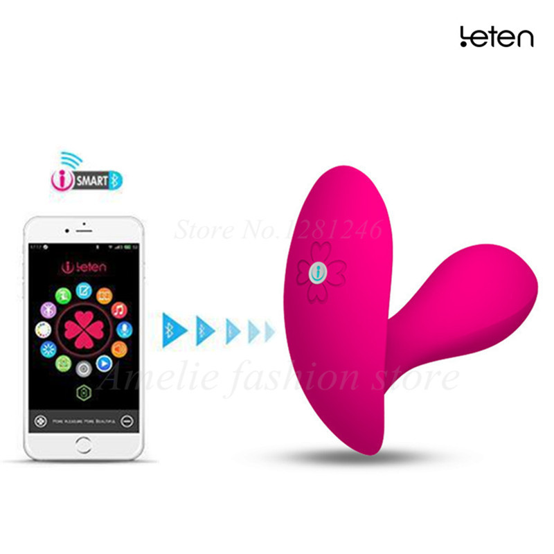 Leten Smartphone App Remote Control Lucy Butterfly G-Spot and Clitoral Vibrator dildo Waterproof Strapon sex toys for woman<br>