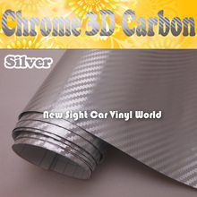 High Quality Silver Chrome Carbon Fiber Vinyl For Vehicle Wraps Air Bubble Free Size:1.52*30M/Roll(China)