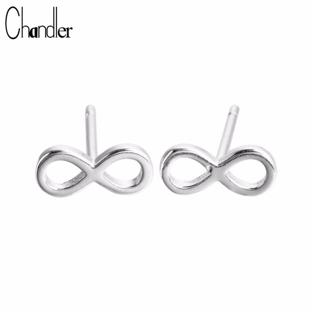 Chandler 925 Sterling Silver Endless 8 Stud Earrings Infinity Metal S925 Stamp Minimalist Body Piercing Pendientes Wholesale