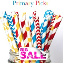 150pcs Mixed Colors PRIMARY PICKS Carnival Paper Straws,Blue and RED Chevron,Stripe,Yellow Striped,Dot,Circus School Birthday(China)