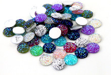 New Fashion 40pcs 12mm Mix Colors Natural Stone Convex Series Flat back Resin Cabochons Jewelry Accessories Wholesale Supplies(China)