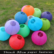 10 Pieces 14 Inch 20 Colors Round Lampshade Chinese Paper Lanterns For Festival Supplies Party Wedding Decoration