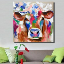 HDARTISAN Cow Oil Painting Original Abstract Palette Knife on Canvas Fine Art Wall Art Pictures for Living Room(China)