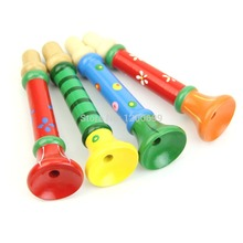 Kids Bugle Suona Toy Children Lovely Wooden Musical Instrument Hooter Trumpet(China)
