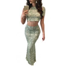Plus Size 2016 Fashion 2 piece set women skirt top o neck short sleeve Digital Print Crop top+bodycon long Mermaid Skirts Suits