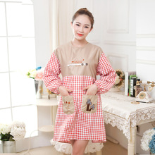 Woman Long sleeved Apron Linen Cotton Adjustable Apron Overalls Anti Oil Stain Pockets for Waiter Kitchen Anti dress Overclothes