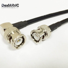 RF coaxial cable RG58 with BNC male to BNC male right angle 90-degree pigtail adapter 50cm 20""
