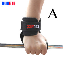 KUUBEE 1 pair Anti-skid Workout Power Training Weight Lifting Straps Support Barbell belt Hand Bar Wrist Wraps(Hong Kong)