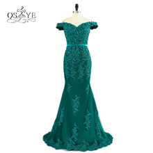 Teal Green Off The Shoulder Prom Dresses 2017 Modest Robe De Soiree Mermaid Style Beading Tulle Formal Evening Gowns Party Dress(China)