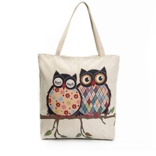 2017 Beach Bag for Summer Big Canvas Bags Lovers Owl Jacquard Tote Women Travel Handbags Luxury Designer Shopping Hand Bags