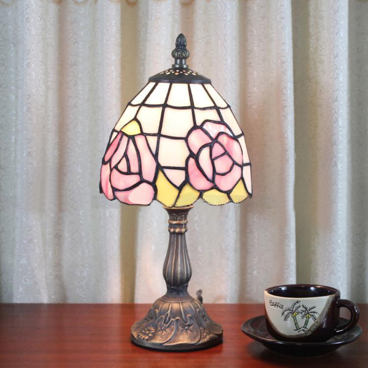 6 Inch Pink Rose Lamp Minimalist Small Stained Glass Tiffany Lamps Pink Living Room Dinning Room Bedroom Bedside Lamps <br><br>Aliexpress