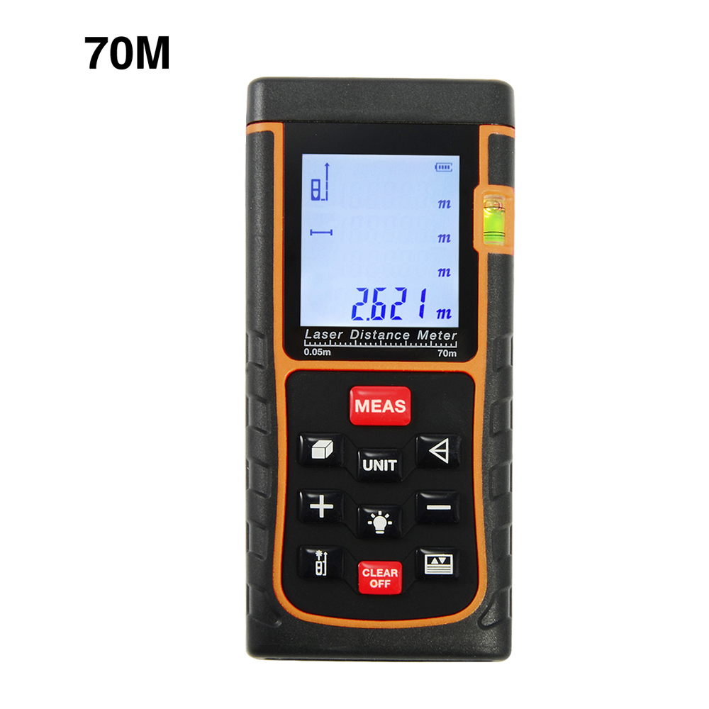 Firecore 70m Laser distance meter 229ft bubble level rangefinder measuring tape measure area/volume m/ft/in with box<br>
